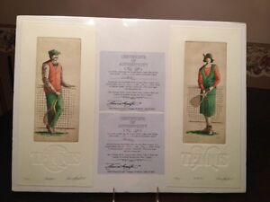 2 Bruce Langton Embossed Colored Etchings Tennis Courtside Champion Matched Set
