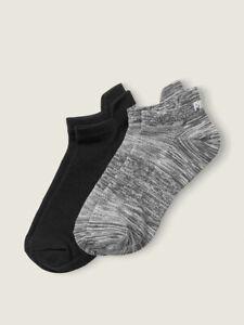 2 Pack Victoria's Secret PINK No Show Socks Active Sports Sock Black/Gray NWT