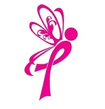 "BREAST CANCER SURVIVOR PINK BUTTERFLY VINYL  DECAL STICKER  5"" X 2"" many colors"