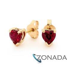 Heart Shape Ruby 9ct 9k Solid Yellow Gold Stud Earrings 54647/CR