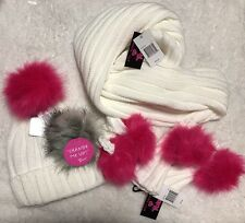 Betsey Johnson Trolls Lots 3 Pcs Knitted Faux Fur Scarf Gloves & Beanie New $118