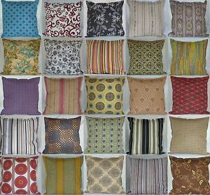 "Vintage retro stripe shabby chic print 100% cotton zipped 18"" 16"" cushion cover"