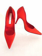 New Christian Lacroix Red Satin Pointy Toe High Heels mix Match Pumps Size:8/9.m
