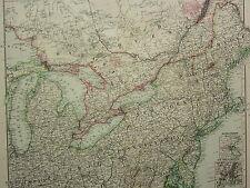 1907 datato Map NORTH East, Stati Uniti New York Ohio Pennsylvania Maine Boston
