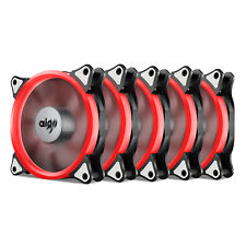 5X Aigo  RED Halo LED 120mm 12cm PC Computer Case Cooling Neon Clear Fan Mod