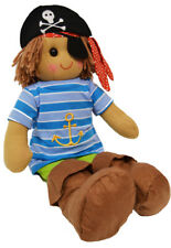 Pirate Rag Doll by Powell Craft Striped Top Boots Hat Patch & Sword Large 40cm