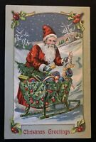 ~Santa Claus with Sled Made of Holly~Toys~Antique Christmas Postcard~-a997