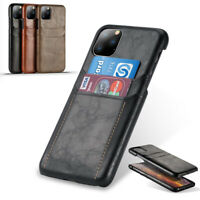 For iPhone 11 Pro Max XR Leather Wallet Thin Card Slot Pocket Holder Case Cover