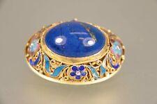 Chinesische Filigransilber Brosche Vergoldet Emailliert mit Lapis Lazuli