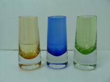 """Lot of 3  Shot Glass Heavy Thick bottom Tall 4 1/4""""  Bar Liquor Glass blue,green"""