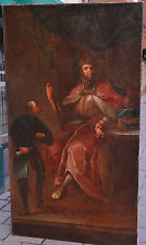 Antique 16C-17C Giant Baroque Portrait Oil on Canvas: Кing receives a Messenger