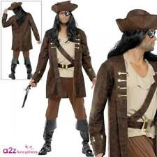 Mens Buccaneer Pirate Costume Pirates Captain Adult Fancy Dress Outfit
