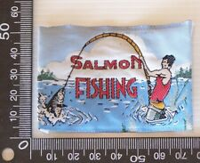 VINTAGE SALMON FISHING EMBROIDERED SOUVENIR PATCH WOVEN CLOTH SEW-ON BADGE