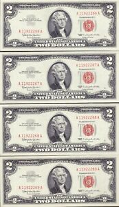 4 Consecutive 1963 $2 RED SEAL UNITED STATES NOTES - GEM CU
