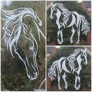ETCHED GLASS VINYL DECAL, EQUESTRIAN STICKER,HORSE,WINDOW,CAR,HORSE BOX,