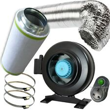 """4"""" PRO Air Odour Control Kit: Vortex Extractor In-Line Fan Carbon Filter Ducting"""
