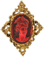 Neo Victorian Red Lava Cameo Pin Brooch Antiqued Gold Tone Openwork