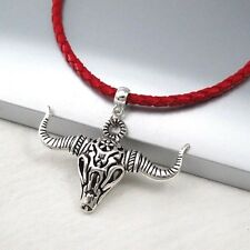 Silver Alloy Bull Head Horns Skull Pendant Braided Red Leather Western Necklace