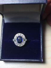 Platinum. Art Deco Inspired, Sapphire & Diamond Ring. Size O. U.S. Size 7.5