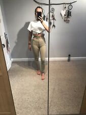 AMERICAN APPAREL HIGH WAISTED RIDING PANTS BEIGE (SIZE S)