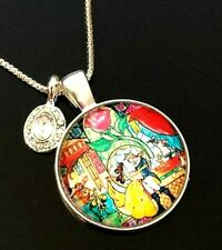"Glass Cabochon 18"" Silver Chain Necklace Beauty And The Beast Belle Domed"