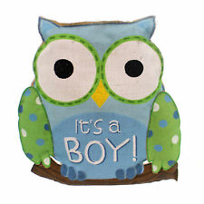 Home & Garden WHOOO'S CUTEST ITS A BOY Fabric Baby Announcement Sign 9719616