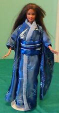 Blue Satin Kimono with Light Blue Bamboo Leaves, Blue & Blue Obi for Barbie HC90