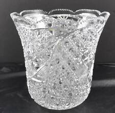 "Deep Cut Clear Crystal 10"" Signed Vase Star Hobnail Quilted Scallop Sawtooth Top"