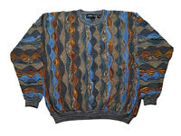 Vtg Tundra Mens XXL 3D Textured Coogi Style Sweater Multicolor Biggie Hip Hop