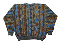 Vtg Tundra 3D Textured Coogi Style Sweater Multicolor Biggie Hip Hop Mens XXL