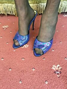 NEW - LADIES HIGH HEEL STILETTO OPEN TOE SLIPPER MULE PARTY SHOES SIZE 7