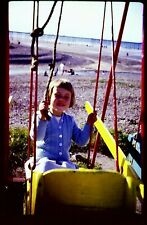 1967 35mm Original Colour Photo Slide Baby Girl on Swing Playing Kodachrome Old