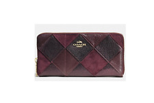 Coach Patchwork Leather Suede Envelope Accordion Zip Wallet  Red Multi F53643