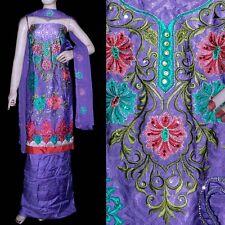 LAVENDER JAQRD CREPE PATIALA SALWAR KAMEEZ SUIT DRESS MATERIAL w EMBR LADIES DEN