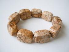 Massives Armband mit Landschafts Jaspis Steinen Rechtecke 58,5 g/Ø 5,5 cm