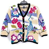 Storybook Knits Woman Floral Cardigan Sweater Plus Size 1X Dragonfly Butterfly