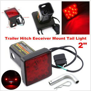 "1PCS 2"" Trailer Hitch Mount Tail Light Red 12LED Tow Bar Brake Lamp Turck w/ Pin"