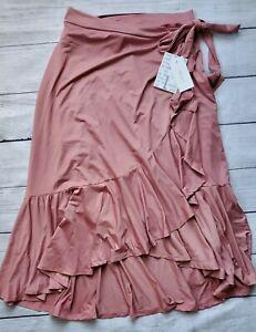 "Lularoe Solid Pink Large Bella Wrap Ruffle Skirt ""Dusty Rose"" UNICORN! New!"