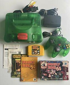 Nintendo 64 N64 Jungle Green Funtastic Console System Donkey Kong CIB Expansion