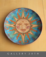 WOW! SUN & MOON DECOR PLATE MID CENTURY MODERN ATOMIC STAR POTTERY WALL ART
