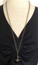 "Black Coated Agate Donut W Bronze Knot 30"" Necklace Artisan handmade USA 1703"