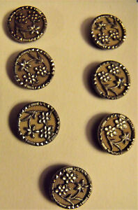 VICTORIAN BUTTON Matched Set (7) Flowers CUT STEELS Brass Shanks WOW! Figural