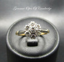 Vintage 18ct Gold and Platinum Diamond Cluster Ring Size I 1/2 3g 0.47 carats