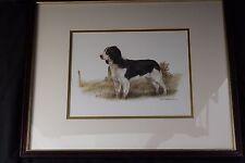 """Joel Kirk Springer Spaniel Dog Print Framed & Matted Under Glass 17"""" x 21"""" VGUC!"""