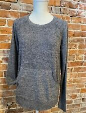 Barefoot Dreams Carbon Pewter CozyChic Lite Raglan Crew Top Pocket New Thumbhole
