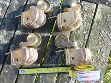 4 Old Antique Vintage Victorian Cast Brass Claw Foot Swivel Casters