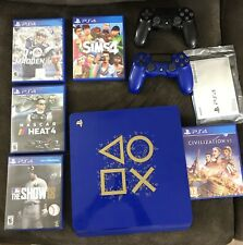 Playstation 4 Slim Limited Edition Days Of Play 1TB Bundle 6 Games 2 Controllers