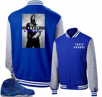 Jacket to match Air Jordan Retro 5 Blue Suede Sneakers.Trust Nobody.Royal Jacket