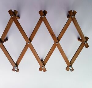 VTG Wood Expandable Wall Hanger Folding 10 Peg Aged Mug Coat Hat Accordion Rack