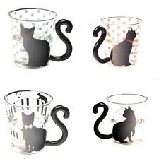 4pcs Cute Cat Kitty Glass Mug Cup Tea Cup Milk Coffee Cup Gift for Kids